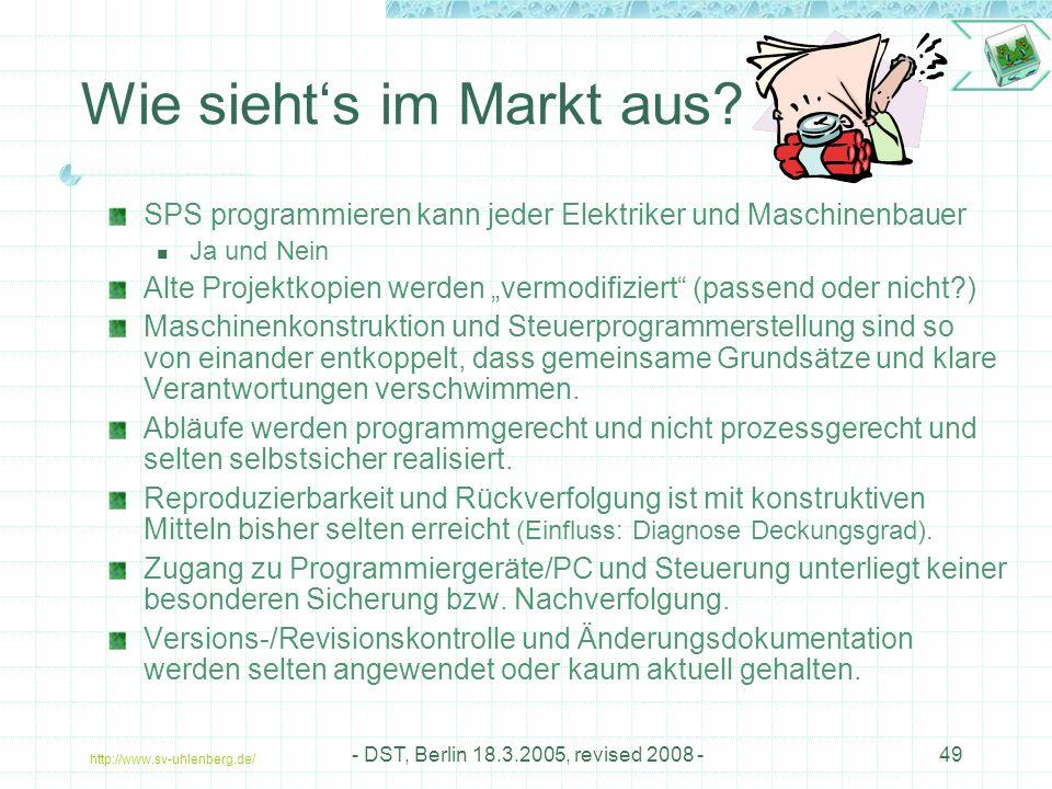 http://www.sv-uhlenberg.de/ - DST, Berlin 18.3.2005, revised 2008 -49 Wie sieht's im Markt aus.