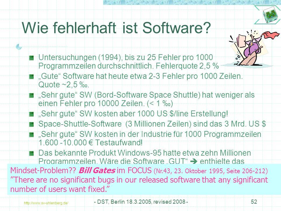 http://www.sv-uhlenberg.de/ - DST, Berlin 18.3.2005, revised 2008 -52 Wie fehlerhaft ist Software.