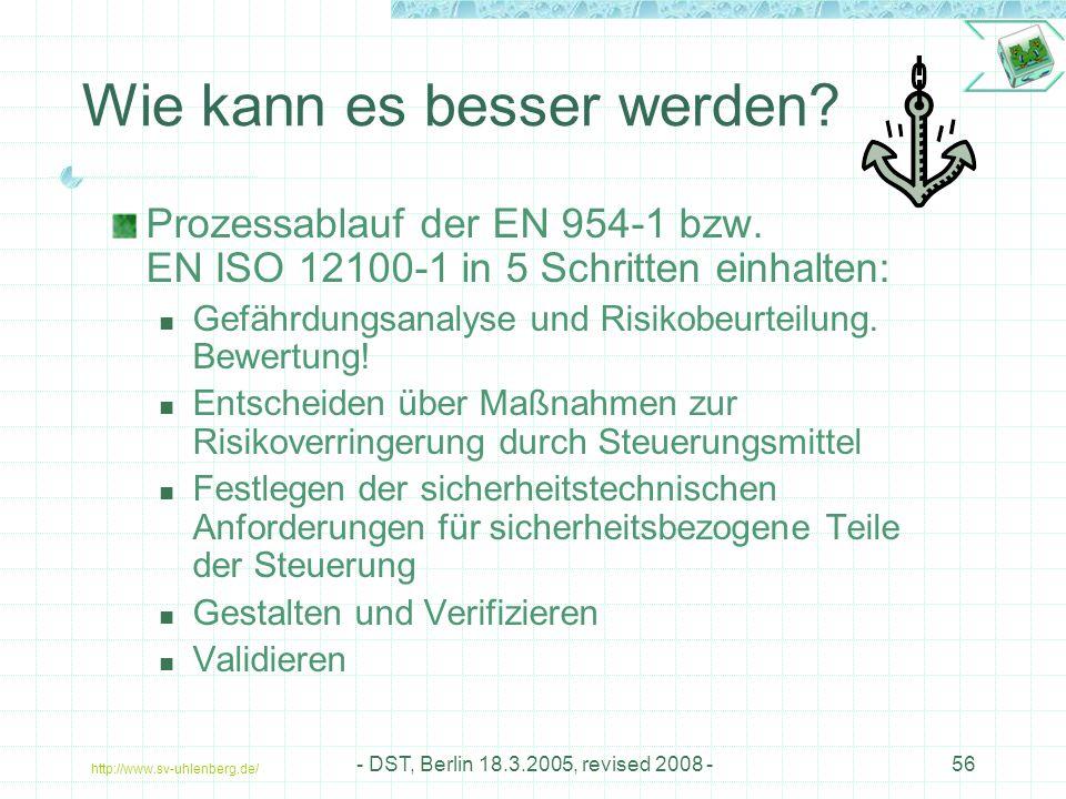 http://www.sv-uhlenberg.de/ - DST, Berlin 18.3.2005, revised 2008 -56 Wie kann es besser werden.
