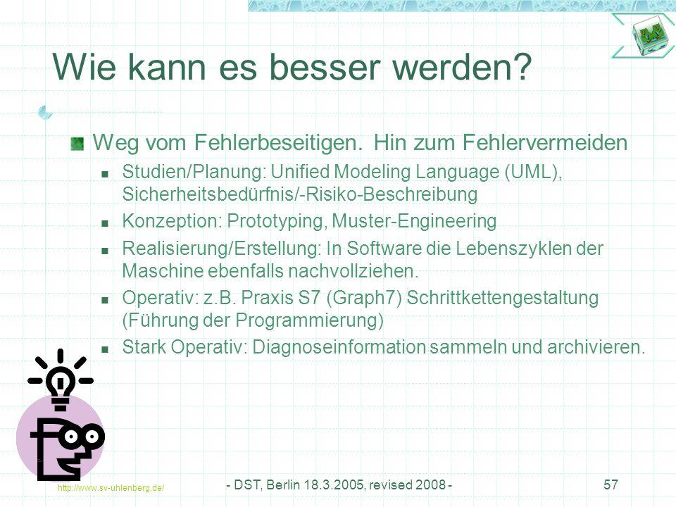 http://www.sv-uhlenberg.de/ - DST, Berlin 18.3.2005, revised 2008 -57 Weg vom Fehlerbeseitigen.