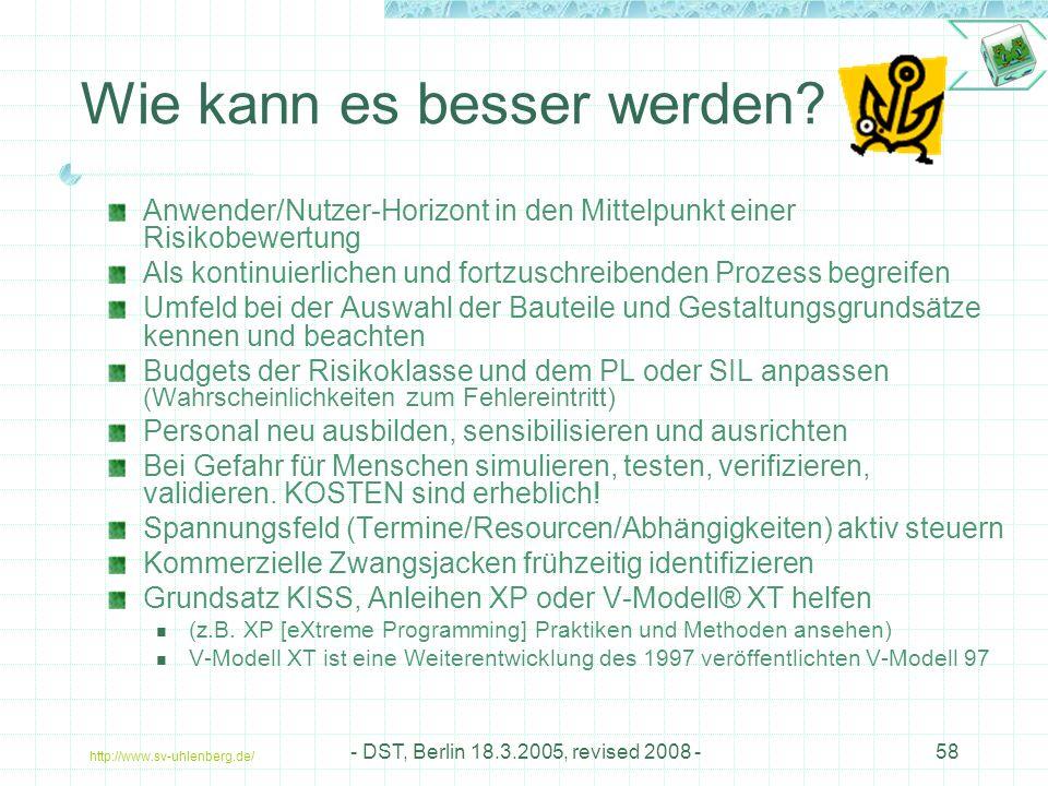 http://www.sv-uhlenberg.de/ - DST, Berlin 18.3.2005, revised 2008 -58 Wie kann es besser werden.