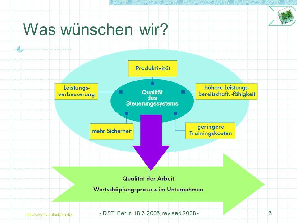 http://www.sv-uhlenberg.de/ - DST, Berlin 18.3.2005, revised 2008 -6 Was wünschen wir?
