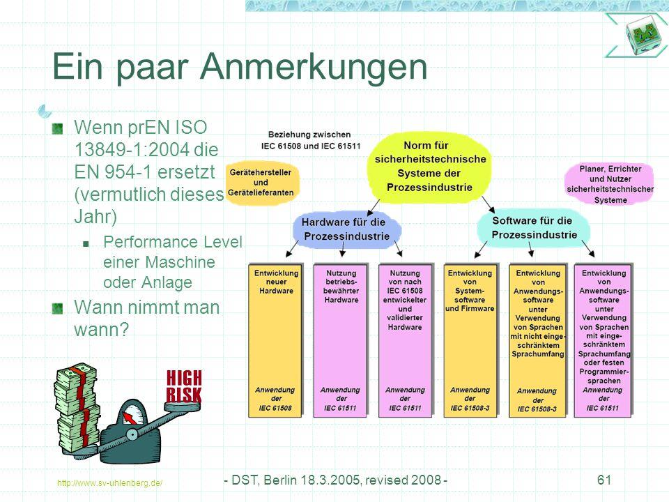 http://www.sv-uhlenberg.de/ - DST, Berlin 18.3.2005, revised 2008 -61 Ein paar Anmerkungen Wenn prEN ISO 13849-1:2004 die EN 954-1 ersetzt (vermutlich dieses Jahr) Performance Level einer Maschine oder Anlage Wann nimmt man wann?
