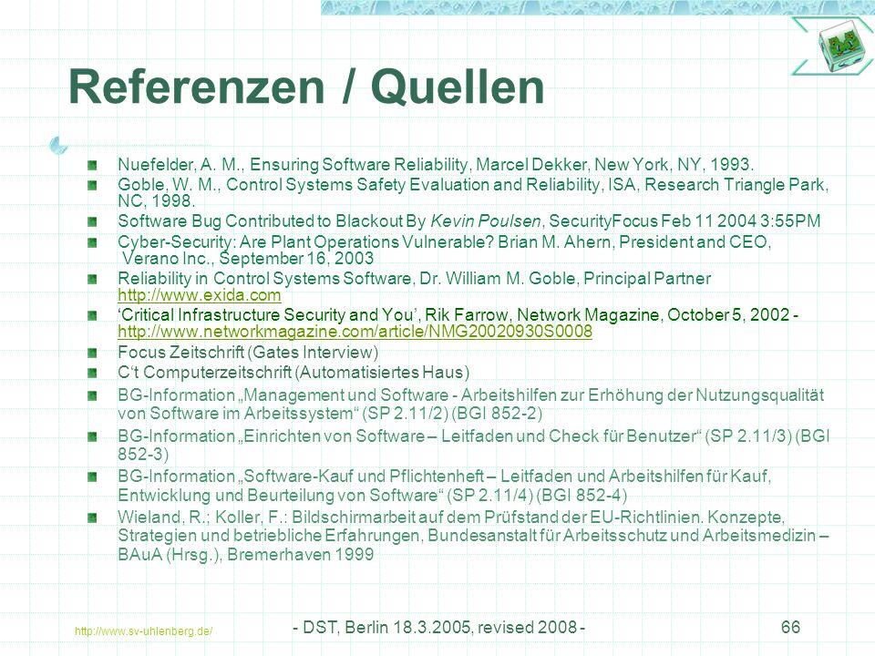 http://www.sv-uhlenberg.de/ - DST, Berlin 18.3.2005, revised 2008 -66 Referenzen / Quellen Nuefelder, A.
