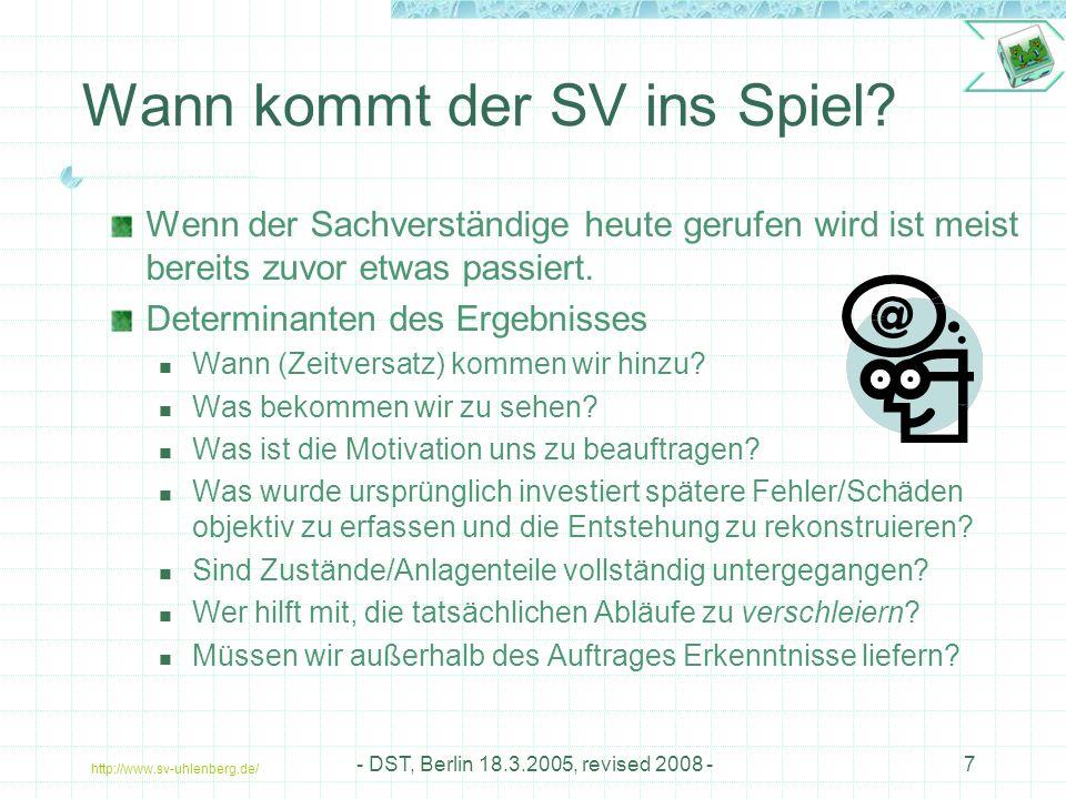 http://www.sv-uhlenberg.de/ - DST, Berlin 18.3.2005, revised 2008 -7 Wann kommt der SV ins Spiel.