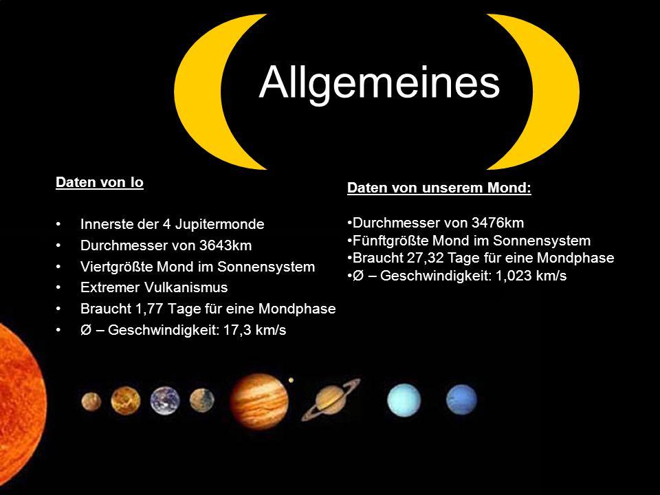 Daten von Io Innerste der 4 Jupitermonde Durchmesser von 3643km Viertgrößte Mond im Sonnensystem Extremer Vulkanismus Braucht 1,77 Tage für eine Mondp