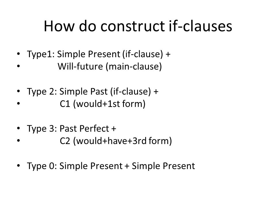 How do construct if-clauses Type1: Simple Present (if-clause) + Will-future (main-clause) Type 2: Simple Past (if-clause) + C1 (would+1st form) Type 3