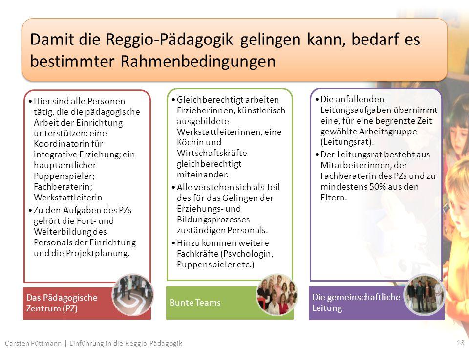13 Carsten Püttmann | Einführung in die Reggio-Pädagogik Damit die Reggio-Pädagogik gelingen kann, bedarf es bestimmter Rahmenbedingungen Hier sind alle Personen tätig, die die pädagogische Arbeit der Einrichtung unterstützen: eine Koordinatorin für integrative Erziehung; ein hauptamtlicher Puppenspieler; Fachberaterin; Werkstattleiterin Zu den Aufgaben des PZs gehört die Fort- und Weiterbildung des Personals der Einrichtung und die Projektplanung.
