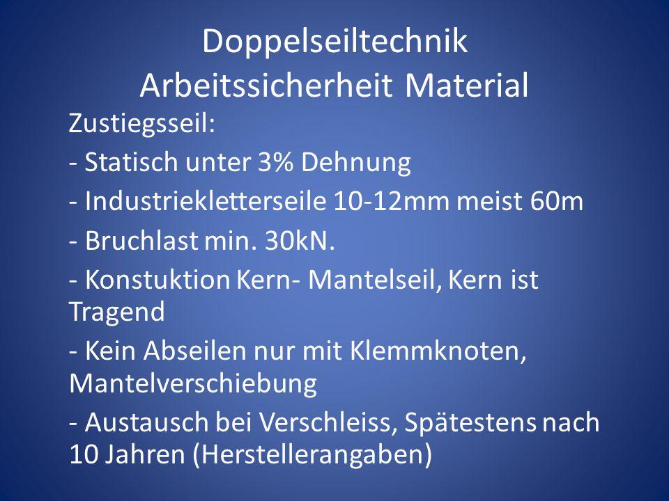 Doppelseiltechnik Arbeitssicherheit Material Zustiegsseil: - Statisch unter 3% Dehnung - Industriekletterseile 10-12mm meist 60m - Bruchlast min. 30kN
