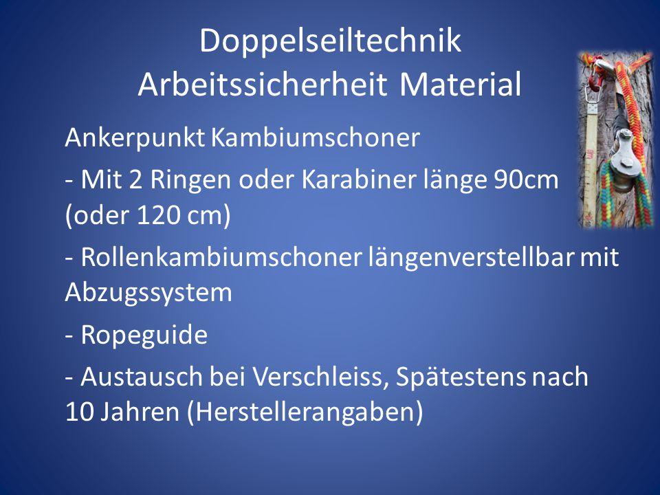 Doppelseiltechnik Arbeitssicherheit Material Ankerpunkt Kambiumschoner - Mit 2 Ringen oder Karabiner länge 90cm (oder 120 cm) - Rollenkambiumschoner l