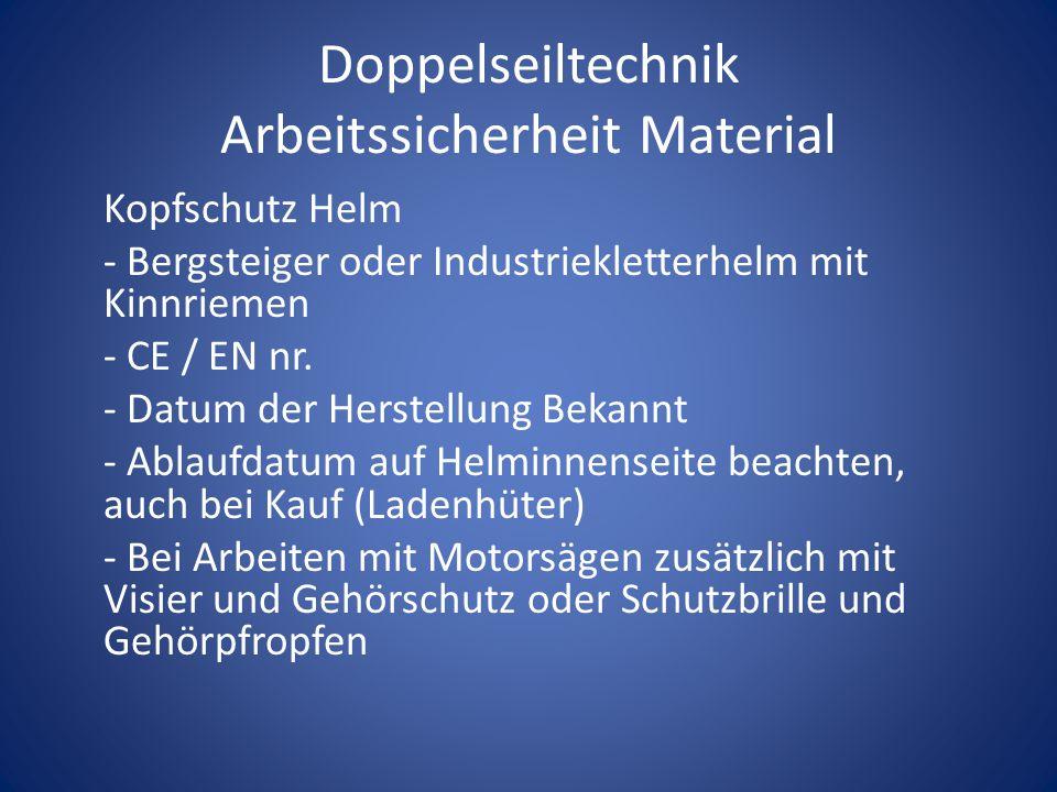 Doppelseiltechnik Arbeitssicherheit Material Kopfschutz Helm - Bergsteiger oder Industriekletterhelm mit Kinnriemen - CE / EN nr. - Datum der Herstell