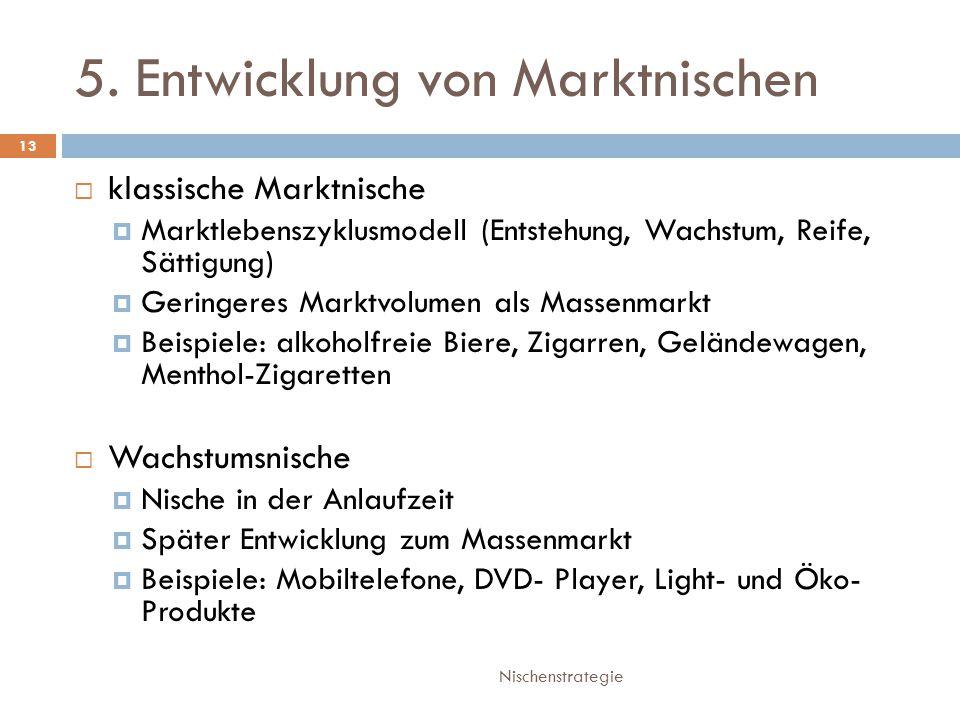 5. Entwicklung von Marktnischen Nischenstrategie 13  klassische Marktnische  Marktlebenszyklusmodell (Entstehung, Wachstum, Reife, Sättigung)  Geri