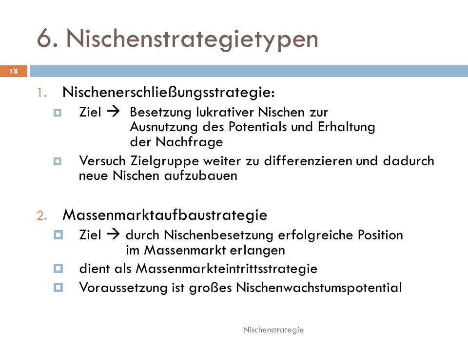 6.Nischenstrategietypen Nischenstrategie 18 1.