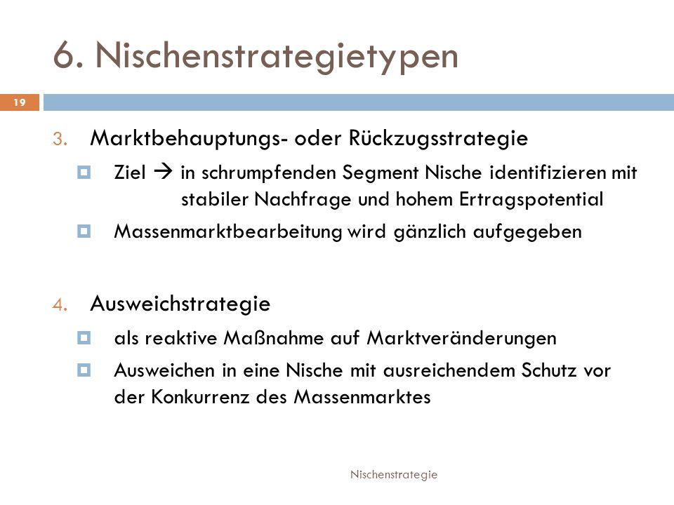 6.Nischenstrategietypen Nischenstrategie 19 3.