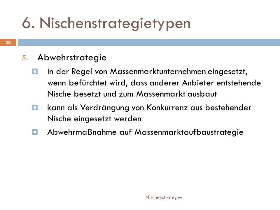 6.Nischenstrategietypen Nischenstrategie 20 5.
