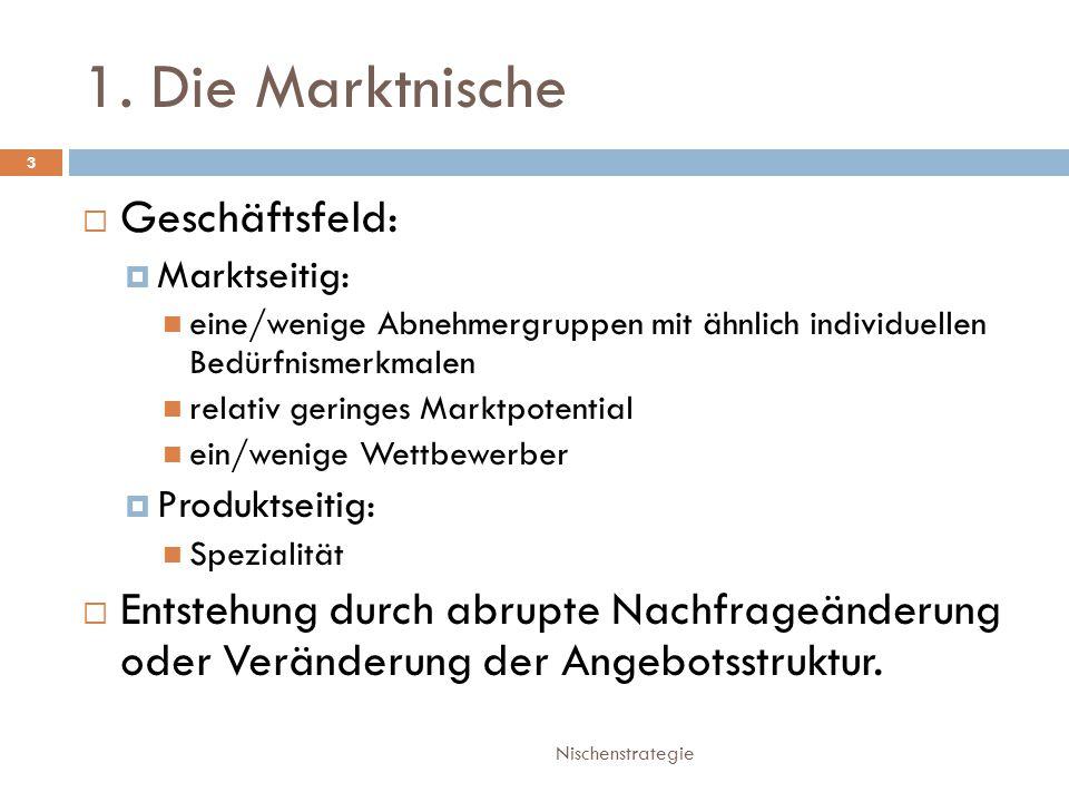 1. Die Marktnische Nischenstrategie 3  Geschäftsfeld:  Marktseitig: eine/wenige Abnehmergruppen mit ähnlich individuellen Bedürfnismerkmalen relativ