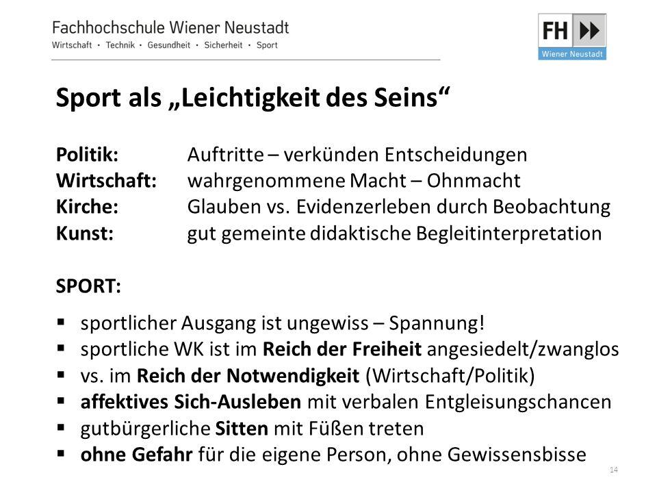 """14 Sport als """"Leichtigkeit des Seins"""" Politik: Auftritte – verkünden Entscheidungen Wirtschaft: wahrgenommene Macht – Ohnmacht Kirche: Glauben vs. Evi"""