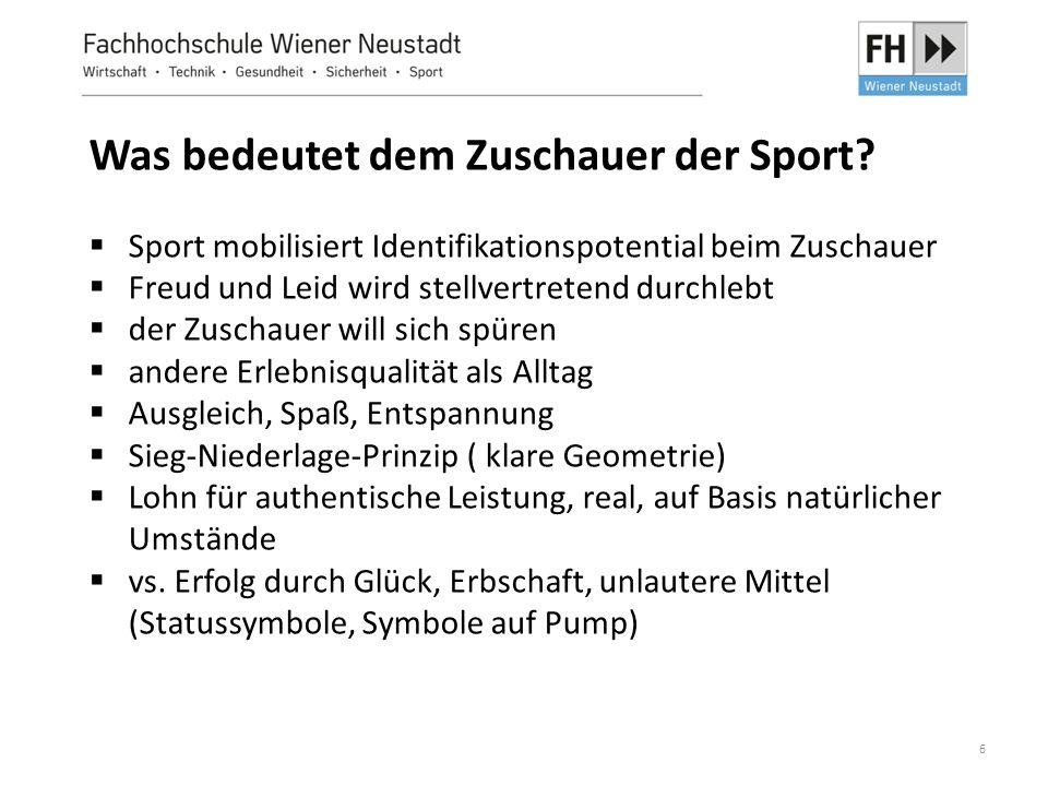6 Was bedeutet dem Zuschauer der Sport?  Sport mobilisiert Identifikationspotential beim Zuschauer  Freud und Leid wird stellvertretend durchlebt 