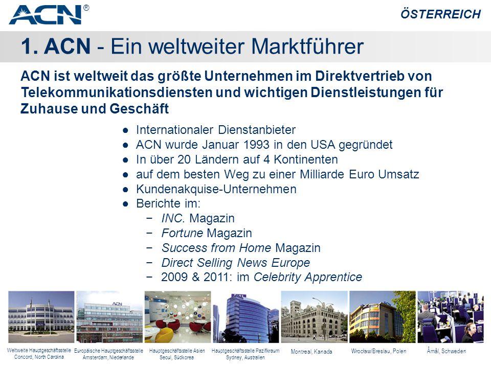 1. ACN - Ein weltweiter Marktführer ÖSTERREICH ●Internationaler Dienstanbieter ●ACN wurde Januar 1993 in den USA gegründet ●In über 20 Ländern auf 4 K
