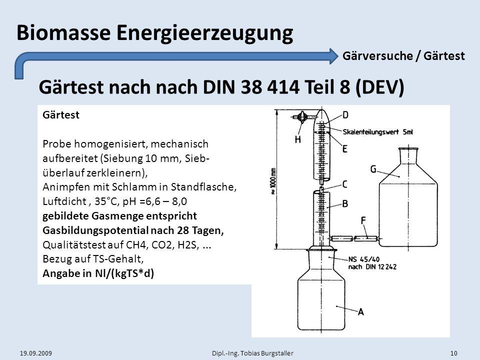 19.09.2009 Dipl.-Ing. Tobias Burgstaller 10 Biomasse Energieerzeugung Gärtest nach nach DIN 38 414 Teil 8 (DEV) Gärversuche / Gärtest Gärtest Probe ho