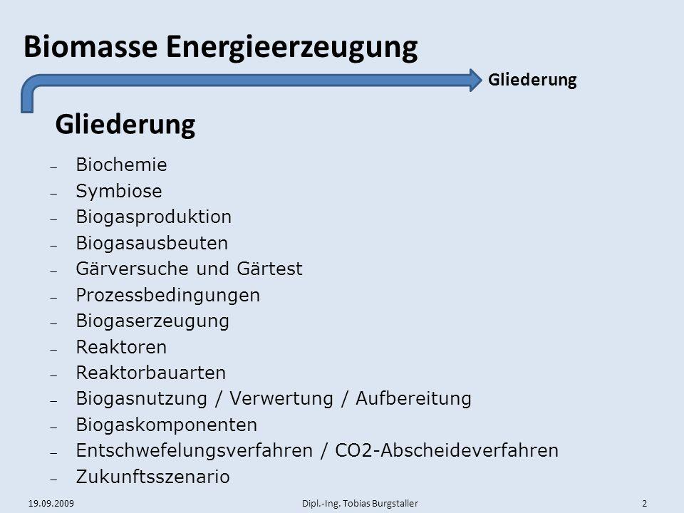 19.09.2009 Dipl.-Ing. Tobias Burgstaller 2 Biomasse Energieerzeugung Gliederung  Biochemie  Symbiose  Biogasproduktion  Biogasausbeuten  Gärversu