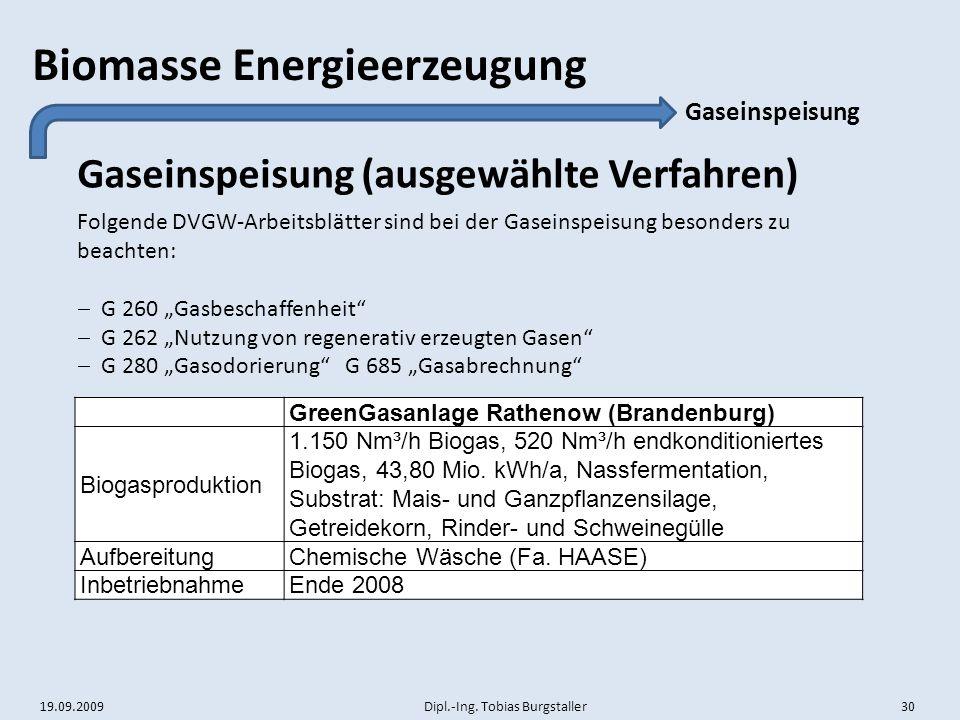 19.09.2009 Dipl.-Ing. Tobias Burgstaller 30 Biomasse Energieerzeugung Gaseinspeisung (ausgewählte Verfahren) Gaseinspeisung Folgende DVGW-Arbeitsblätt