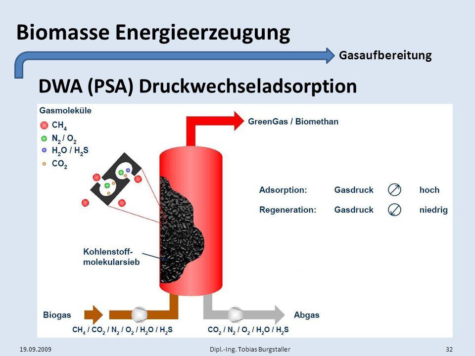 19.09.2009 Dipl.-Ing. Tobias Burgstaller 32 Biomasse Energieerzeugung DWA (PSA) Druckwechseladsorption Gasaufbereitung