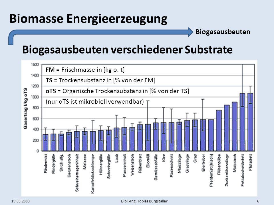 19.09.2009 Dipl.-Ing. Tobias Burgstaller 6 Biomasse Energieerzeugung Biogasausbeuten verschiedener Substrate Biogasausbeuten oTS = Organische Trockens
