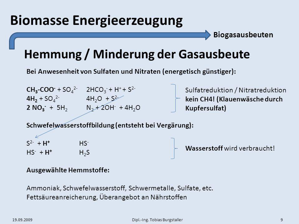 19.09.2009 Dipl.-Ing. Tobias Burgstaller 9 Biomasse Energieerzeugung Hemmung / Minderung der Gasausbeute Biogasausbeuten Bei Anwesenheit von Sulfaten