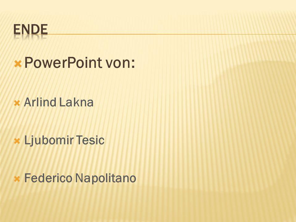  PowerPoint von:  Arlind Lakna  Ljubomir Tesic  Federico Napolitano