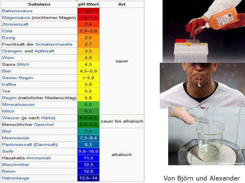 Säure /Lauge  PH-Wert ist unter 7  Säuren sind in hoher Konzentration gefährlich  PH-Wert ist über 7  Stark alkalische Lösungen sind extrem ätzend Von Björn und Alexander