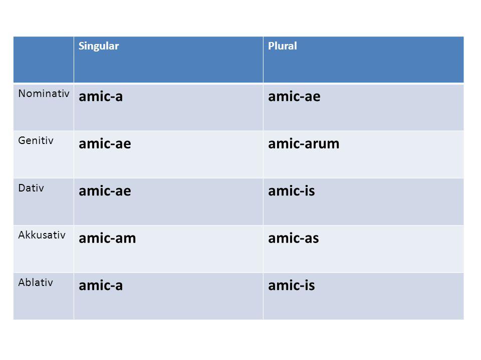 SingularPlural Nominativ amic-aamic-ae Genitiv amic-aeamic-arum Dativ amic-aeamic-is Akkusativ amic-amamic-as Ablativ amic-aamic-is
