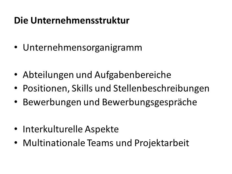 Die Unternehmensstruktur Unternehmensorganigramm Abteilungen und Aufgabenbereiche Positionen, Skills und Stellenbeschreibungen Bewerbungen und Bewerbu
