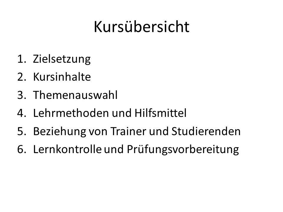 Kursübersicht 1.Zielsetzung 2.Kursinhalte 3.Themenauswahl 4.Lehrmethoden und Hilfsmittel 5.Beziehung von Trainer und Studierenden 6.Lernkontrolle und