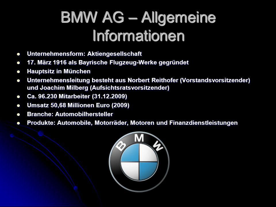 BMW AG – Allgemeine Informationen Unternehmensform: Aktiengesellschaft Unternehmensform: Aktiengesellschaft 17. März 1916 als Bayrische Flugzeug-Werke