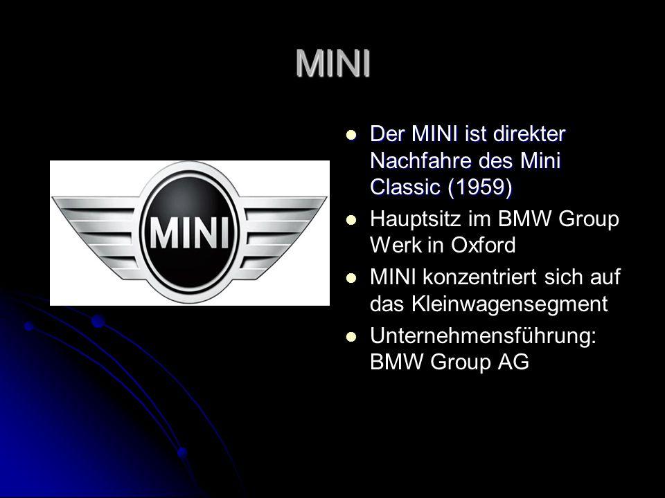 MINI MINI Der MINI ist direkter Nachfahre des Mini Classic (1959) Der MINI ist direkter Nachfahre des Mini Classic (1959) Hauptsitz im BMW Group Werk