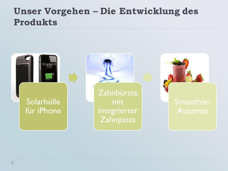 Unser Vorgehen – Die Entwicklung des Produkts Solarhülle für iPhone Zahnbürste mit integrierter Zahnpasta Smoothie- Automat