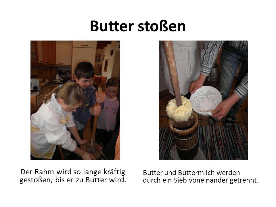 Butter stoßen Der Rahm wird so lange kräftig gestoßen, bis er zu Butter wird. Butter und Buttermilch werden durch ein Sieb voneinander getrennt.