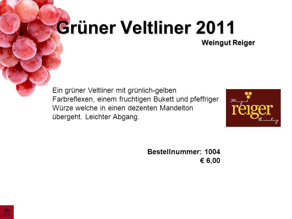 Grüner Veltliner 2011 Weingut Reiger Ein grüner Veltliner mit grünlich-gelben Farbreflexen, einem fruchtigen Bukett und pfeffriger Würze welche in ein