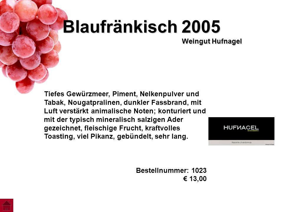 Blaufränkisch 2005 Weingut Hufnagel Tiefes Gewürzmeer, Piment, Nelkenpulver und Tabak, Nougatpralinen, dunkler Fassbrand, mit Luft verstärkt animalisc