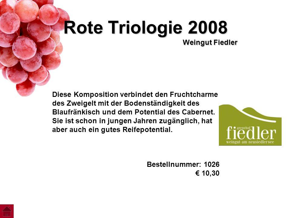 Rote Triologie 2008 Weingut Fiedler Diese Komposition verbindet den Fruchtcharme des Zweigelt mit der Bodenständigkeit des Blaufränkisch und dem Poten