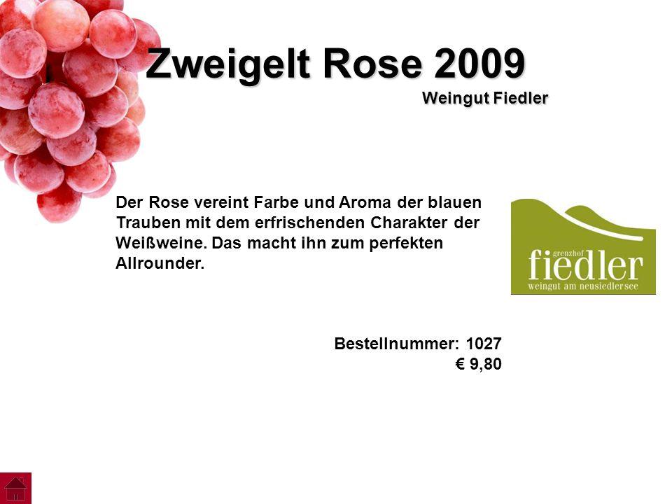 Zweigelt Rose 2009 Weingut Fiedler Der Rose vereint Farbe und Aroma der blauen Trauben mit dem erfrischenden Charakter der Weißweine. Das macht ihn zu