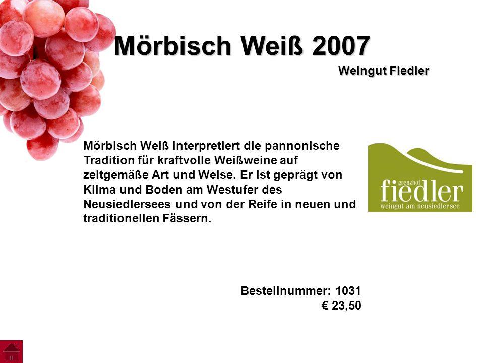 Mörbisch Weiß 2007 Weingut Fiedler Mörbisch Weiß interpretiert die pannonische Tradition für kraftvolle Weißweine auf zeitgemäße Art und Weise. Er ist