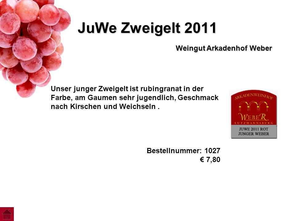 JuWe Zweigelt 2011 Weingut Arkadenhof Weber Unser junger Zweigelt ist rubingranat in der Farbe, am Gaumen sehr jugendlich, Geschmack nach Kirschen und