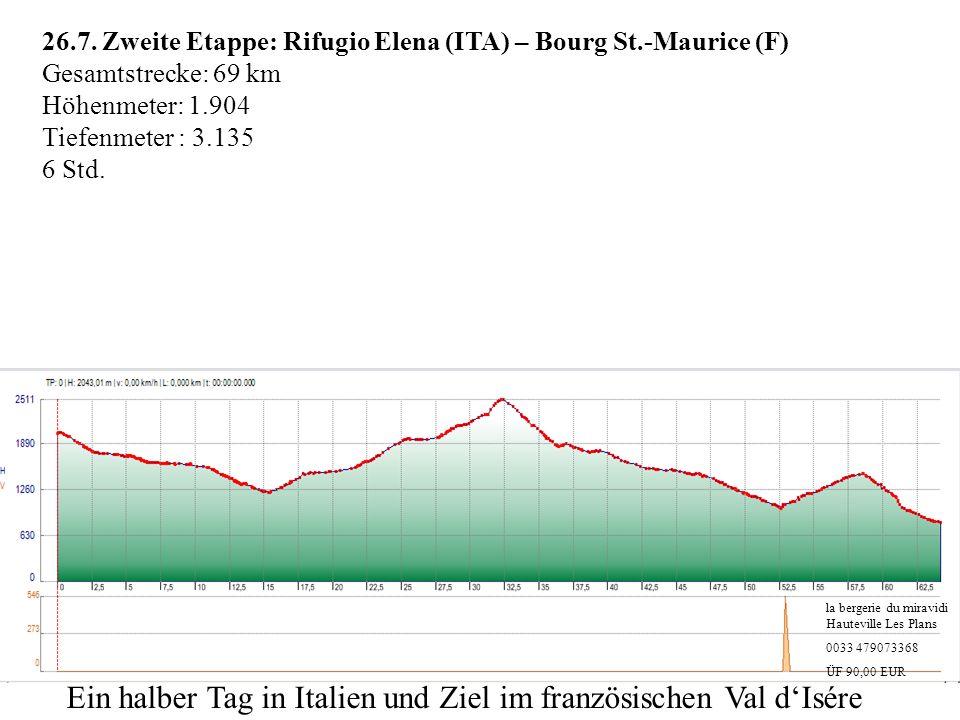 26.7. Zweite Etappe: Rifugio Elena (ITA) – Bourg St.-Maurice (F) Gesamtstrecke: 69 km Höhenmeter: 1.904 Tiefenmeter : 3.135 6 Std. la bergerie du mira