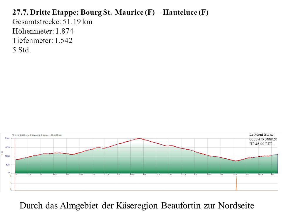 27.7. Dritte Etappe: Bourg St.-Maurice (F) – Hauteluce (F) Gesamtstrecke: 51,19 km Höhenmeter: 1.874 Tiefenmeter: 1.542 5 Std. Le Mont Blanc 0033 479
