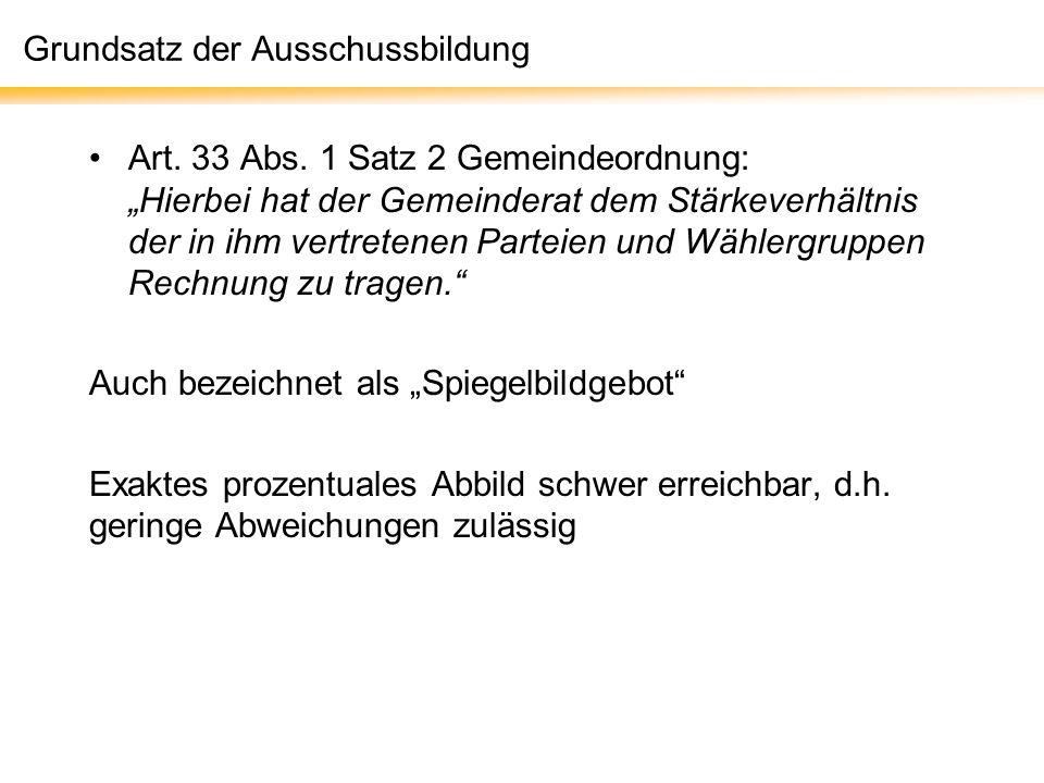 Grundsatz der Ausschussbildung Art.33 Abs.