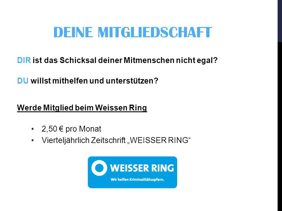 """""""JEDER EURO HILFT Deine Spende an den Weissen Ring: Deutsche Bank Mainz Konto: 34 34 34 BLZ: 550 700 40"""