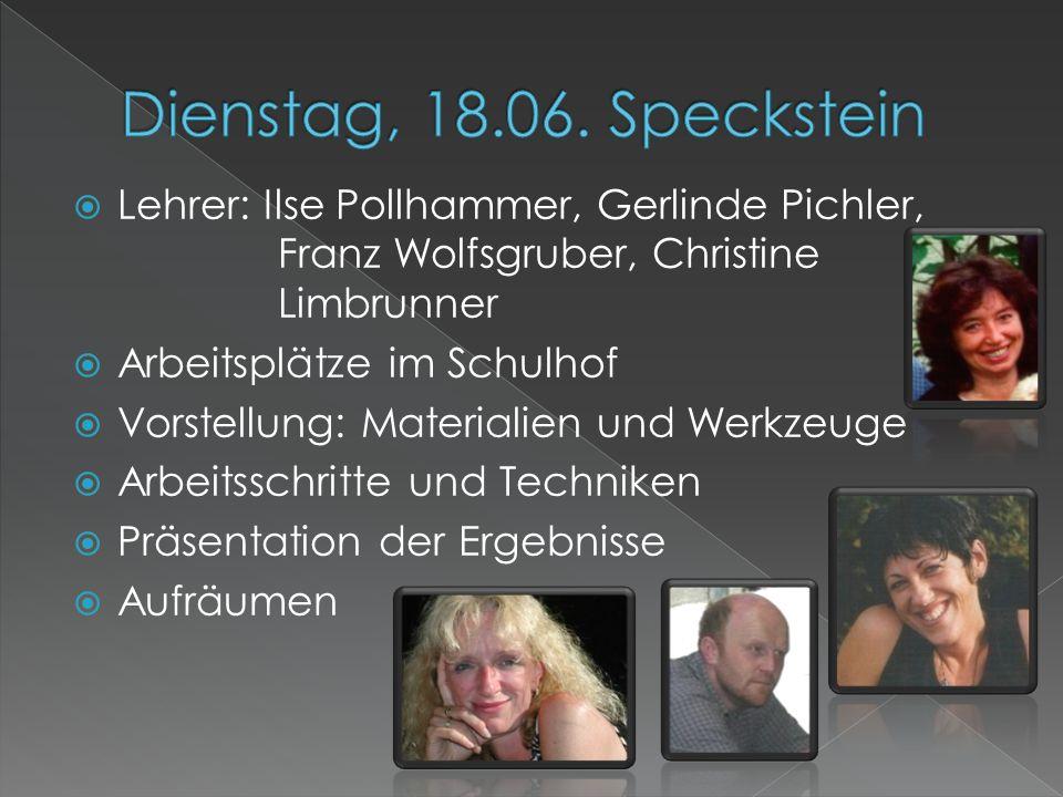  Lehrer: Ilse Pollhammer, Gerlinde Pichler, Franz Wolfsgruber, Christine Limbrunner  Arbeitsplätze im Schulhof  Vorstellung: Materialien und Werkze