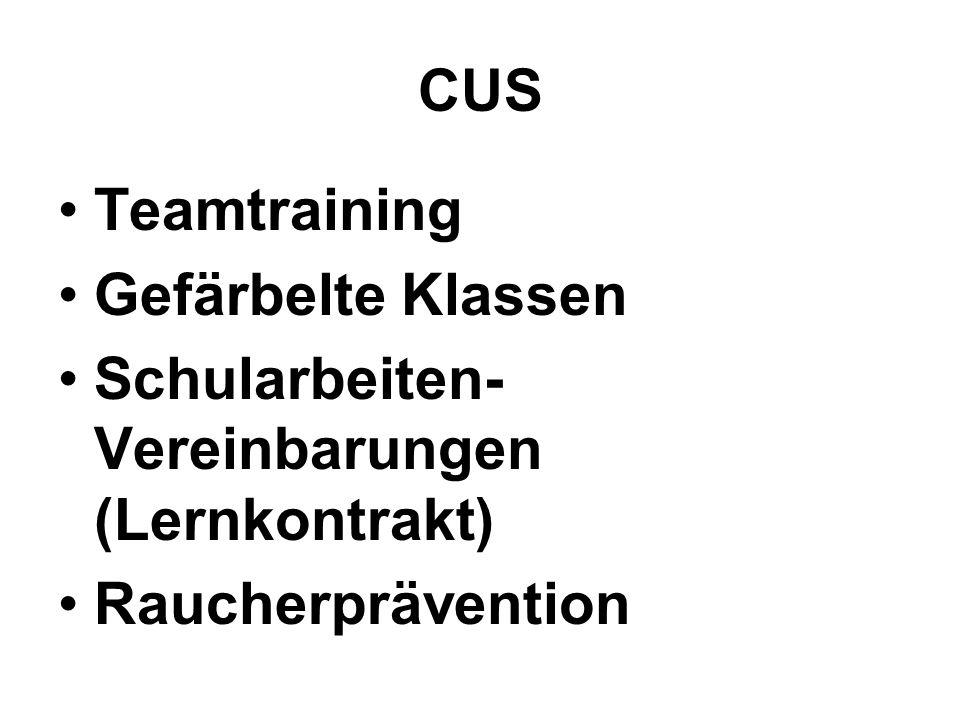 CUS Teamtraining Gefärbelte Klassen Schularbeiten- Vereinbarungen (Lernkontrakt) Raucherprävention